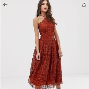 Rust Orange Halter Lace Dress
